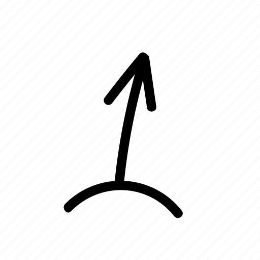 arrow, geo, handwritten, sketch, up icon