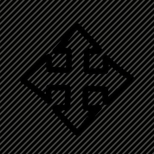 arrow, cross, geo, handwritten, map, sketch icon