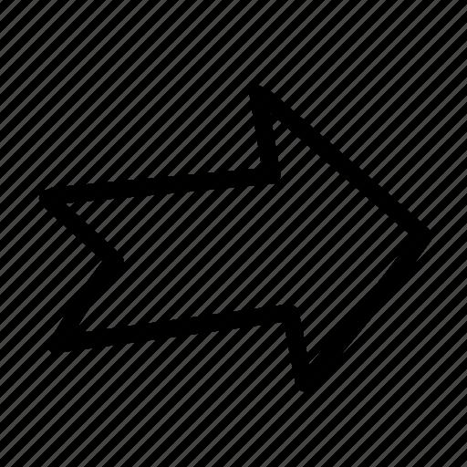 arrow, geo, handwritten, sketch, turn icon