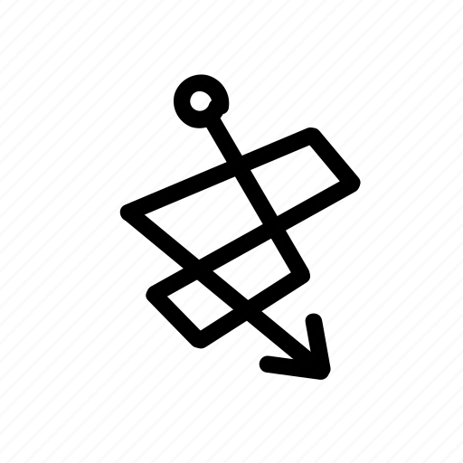 arrow, entangled, geo, handwritten, loop, sketch icon
