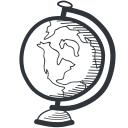 academic, academy, earth, education, geography, globe, handdrawn, knowledge, learning, map, school, student, teach, teaching, tool, university, world icon