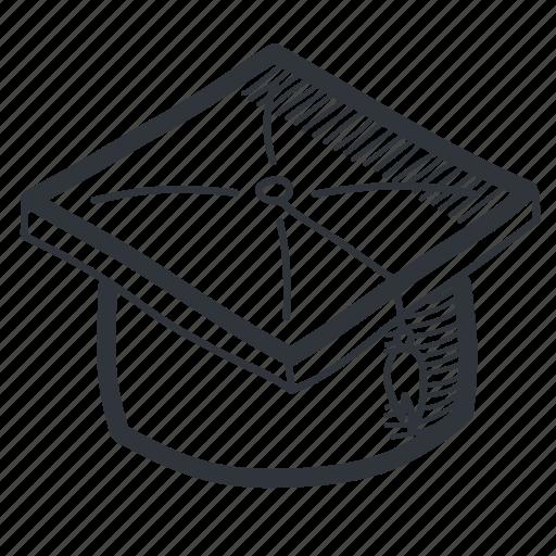 Academic, academy, cap, drawn, graduation, knowledge, school icon - Download on Iconfinder