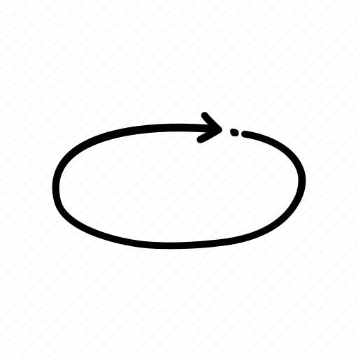 arrow, circle, cycle, hand drawn circle arrow, handrawn circle, inside, pointer icon