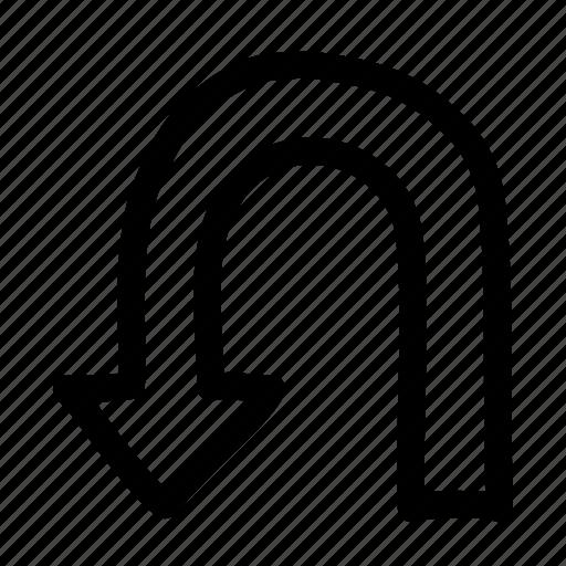 arrow, direction, left, navigation, turn, uturn icon