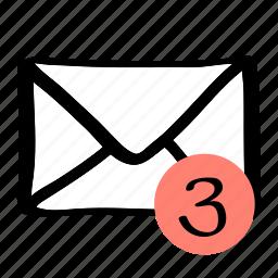 communication, mail, message, three icon