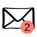 communication, mail, message, two icon