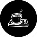 casserole, cooking, heating, on, stove icon