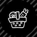 basket, full, of, picnic, vegetables icon