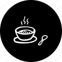 a, bowl, hand, hot, soup, spoon, with icon