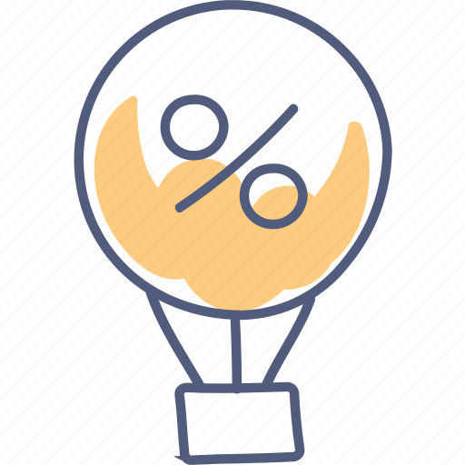 balloon, flying, percentage, sale, sold icon