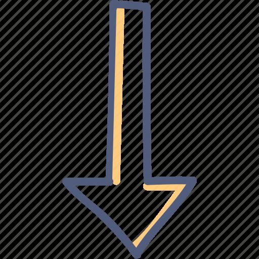 arrow, asset, down, long icon