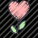colored pencil filled, crayon filled, flower, love, love flower, valentine, valentine's day