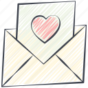 colored pencil filled, crayon filled, love, love letter, post card, valentine card, valentine's day icon