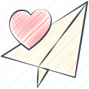 colored pencil filled, love, valentine, paper plane, crayon filled, valentine's day, love plane icon