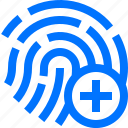 add, authentication, fingerprint, gesture, hand, identify, recognition icon