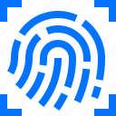authentication, fingerprint, gesture, hand, identify, recognition, scan icon