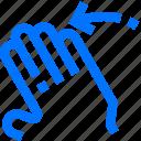 fingers, five, flick, gesture, hand, interactive, left icon