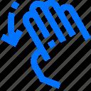 down, fingers, four, gesture, hand, interactive, swipe