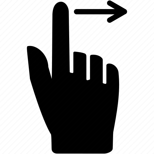 action, command, drag, finger, right, touch icon