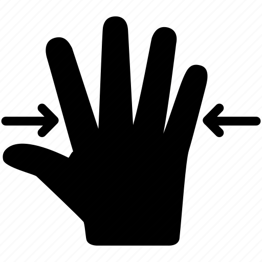 fingers, five, gesture, interaction, out, touch, zoom icon