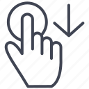 down, drag, arrow, finger, gesture, hand