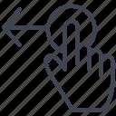 drag, left, arrow, finger, gesture, hand