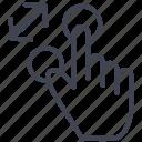 in, zoom, arrows, fingers, gesture, hand