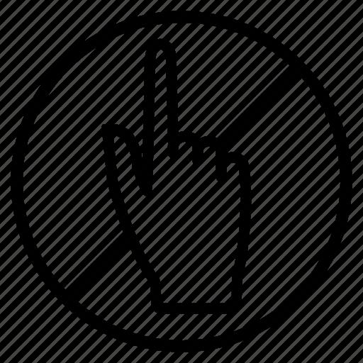 hand, indication, not, prohibited, touching, warning icon