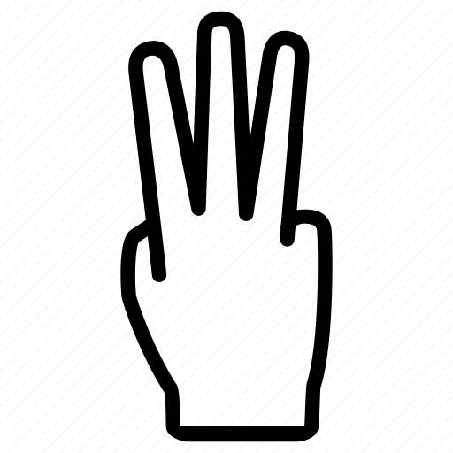 expression, fingers, hand, number, three icon