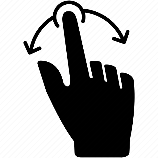 action, finger, motion, one, rotate, tap, touch icon