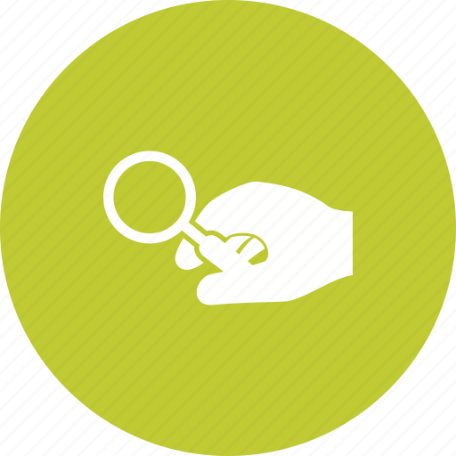 glass, hand, holding, look, magnifier, magnifying, research icon