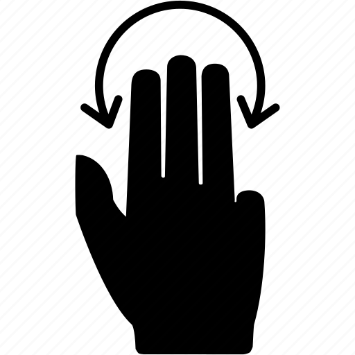 drag, fingers, gesture, hand, rotate, tap, three icon
