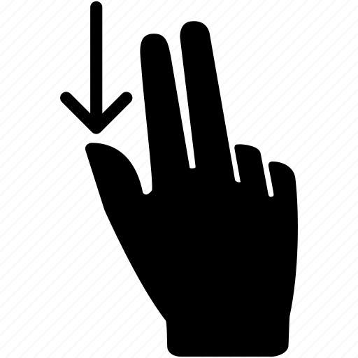 down, fingers, hand, move, scroll, swipe, two icon