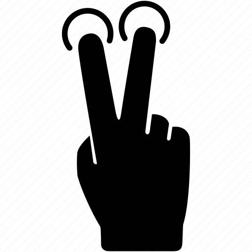 fingers, gesture, hand, screen, tap, touch, two icon