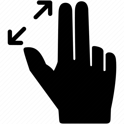 fingers, hand, pinch, squeeze, touch, two, zoom icon