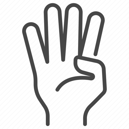 fingers, four, gesture, hand, number, sign icon