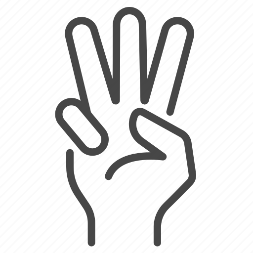 fingers, gesture, hand, number, three icon