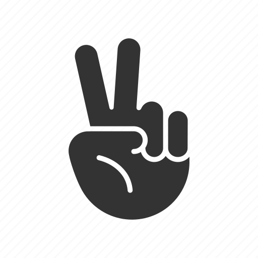 fingers, hand, palm, peace, twice, two icon