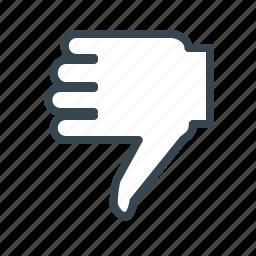 dislike, gesture, hand, media, social icon