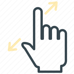 arrows, expand, gesture, hand, move, zoom icon