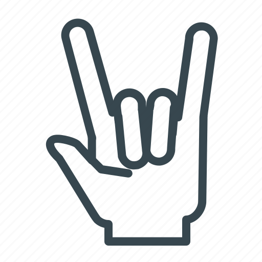 gesture, hand, metal, rock icon