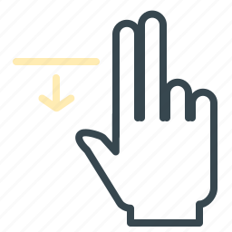 arrow, down, gesture, hand, move icon