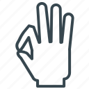 diving, fingers, gesture, hand, ok icon