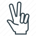 finger, gesture, hand, peace, two icon