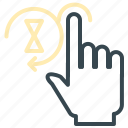 gesture, hand, hold, hourglass, tap icon