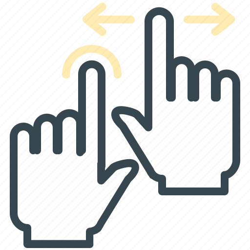 arrows, double, gesture, hand, move, two icon