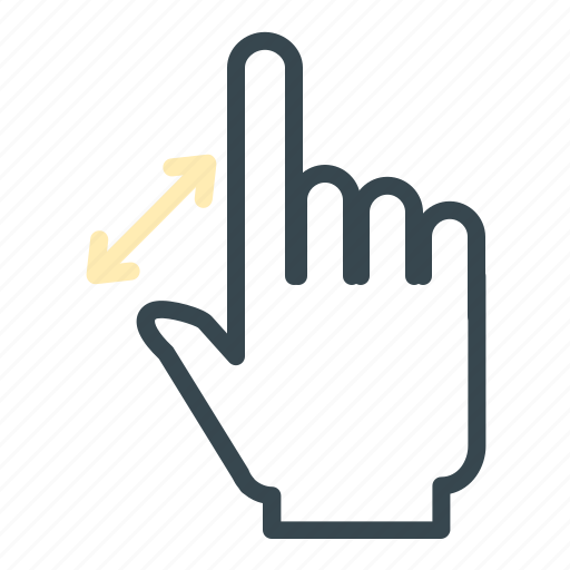 arrows, gesture, hand, in, zoom icon