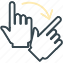 arrow, gesture, hand, right, rotate