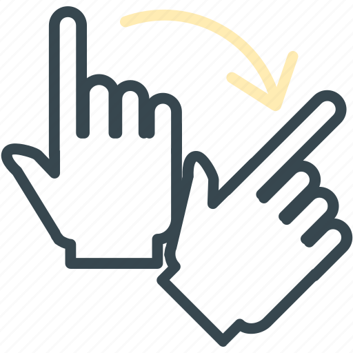 arrow, gesture, hand, right, rotate icon