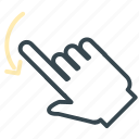 arrow, gesture, hand, left, move, rotate icon